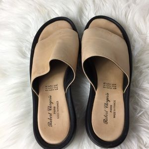 Robert clergerie agree tan leather slides